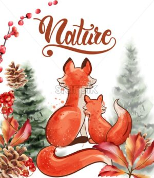 Fox with her baby in the nature watercolor vector. Autumn seasonal cards - Starpik Stock