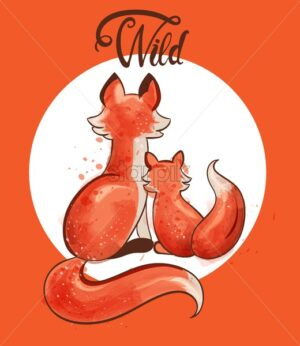 Fox with her baby watercolor vector. Autumn seasonal cards - Starpik Stock