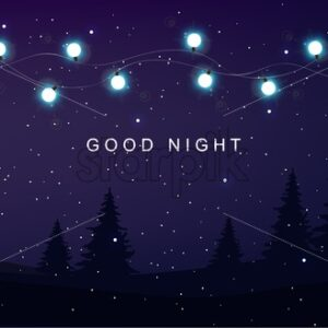 Good night card with fairy lights, magic forest on foreground and white dots. Vector composition - Starpik Stock