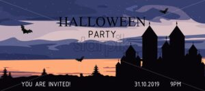 Halloween party banner with castle, bats, forest and clouds. Invitation card vector - Starpik Stock