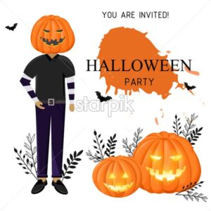 Halloween party invitation with man wearing pumpkin on head, bats and spider web. White background vector. Flat style - Starpik Stock