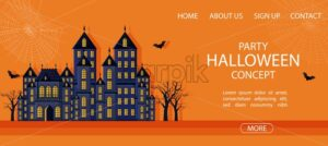 Halloween party site banner with big castle and spider web. Orange background vector. Flat style - Starpik Stock