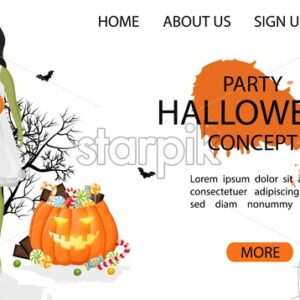 Halloween party site banner with green woman wearing white dress, pumpkin full of candy and spider web. White Background vector. Flat style - Starpik Stock
