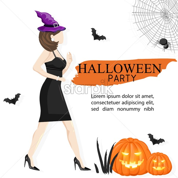 Halloween party site banner with woman wearing black dress and witch hat, pumpkin, bats and spider web. White background vector. Flat style - Starpik Stock