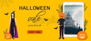 Halloween special offer sale banner with woman dressed in black, wearing witch hat. Man with pumpkin head near smart phone screen. Spider web and holiday bags. Vector. Flat style - Starpik Stock