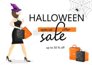 Halloween special offer sale banner with woman dressed in black, wearing witch hat. Spider web and holiday bags. Vector. Flat style - Starpik Stock