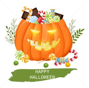 Happy halloween pumpkin full of candy and chocolate. Trick or treat idea. Flat style vector. Flat style - Starpik Stock