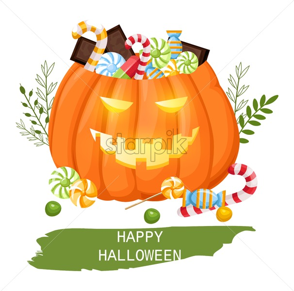 Happy Halloween Pumpkin Full Of Candy And Chocolate Trick Or Treat Idea Flat Style Vector Flat