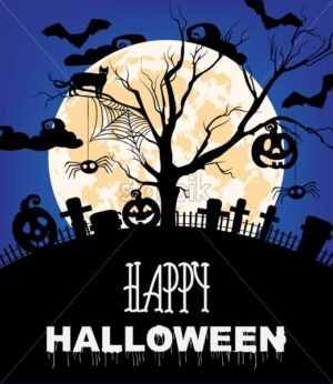 Happy halloween with cats, pumpkins, cemetery and bats. Full moon. Blue background vector - Starpik Stock