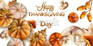 Happy thanksgiving day autumn Vector card in watercolor style. Isolated white background - Starpik Stock