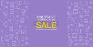 Innovative technologies icons pack vector. Pink background. Sale banner - Starpik Stock