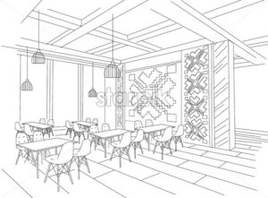 Interior sketch of Moldavian restaurant interior with local traditional ornaments - Starpik Stock
