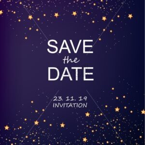 Invitation card with stars and sparkles vector. Save the date. Magic cosmic theme - Starpik Stock