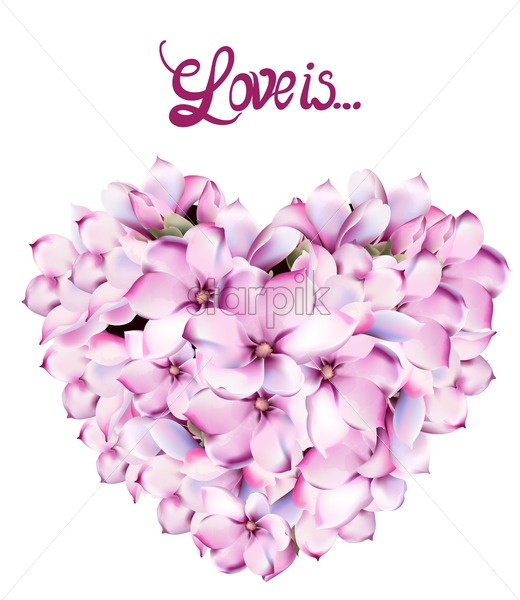 Lilly flowers love card vector watercolor. Isolated background. Provence flowers banner - Starpik Stock