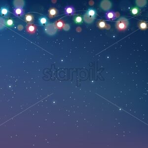 Magic sky card with colorful fairy lights and dots. Cosmic theme vector - Starpik Stock