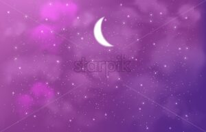 Magic sky full of stars, sparkles and half moon. Bright pink color. Cosmic theme vector card - Starpik Stock