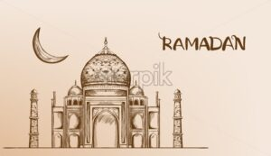 Mosque with moon Vector line art. Retro vintage old effect style - Starpik Stock