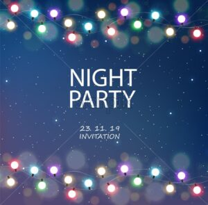 Night party invitation magic sky card with colorful fairy lights and dots. Cosmic theme vector - Starpik Stock