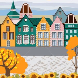 Old retro town with colorful buildings and cobblestone paved road in front. Autumn season. Flat cartoon vector - Starpik Stock