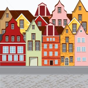 Old retro town with colorful buildings and cobblestone paved road in front. Flat cartoon vector - Starpik Stock