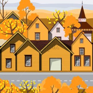 Old retro town with yellow buildings and cobblestone paved road in front. Autumn season Flat cartoon vector - Starpik Stock