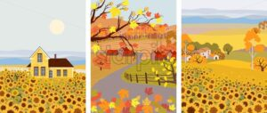 Pack of cartoon flat village with sunflower growing in front. Autumn season vector - Starpik Stock