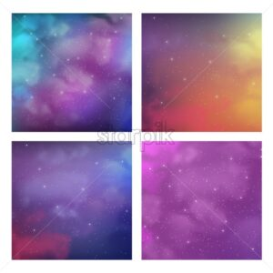 Pack of cosmic backgrounds with magic bright colors and stars. Vector - Starpik Stock