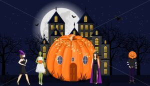 Pumpkin house with holiday dressed people in front. Castle, full moon, forest and bats on background. Halloween vector. Flat style - Starpik Stock