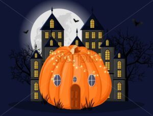 Pumpkin house with lights in front of dark castle. Full moon, forest and bats on background vector. Flat style - Starpik Stock