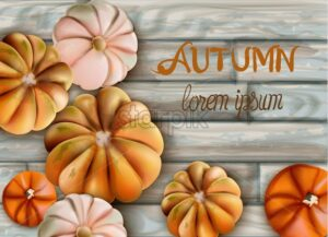 Random size pumpkins with Autumn text Vector card. Wooden background illustrations. Watercolor - Starpik Stock