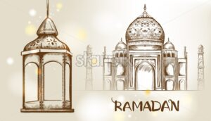 Rose gate pillar lantern with golden moon and mosque on background Vector card. Ramadan text. Light sparkles. Rococo texture pattern and line art - Starpik Stock