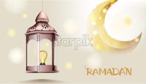 Rose gate pillar lantern with golden moon on background Vector card. Ramadan text. Light sparkles - Starpik Stock
