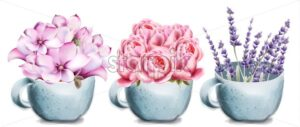 Rose, lavender and lilly flowers in ceramic cup card vector watercolor. Isolated background. Provence flowers banner - Starpik Stock