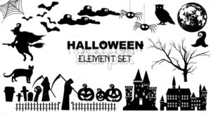Set of black halloween elements. Grim Reaper, castle, moon, spiders, owl and web. Holiday vector - Starpik Stock