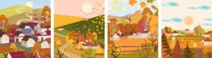 Set of cartoon flat autumn season village and town vector. Birds flying, haystacks, mountains - Starpik Stock