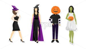 Set of people in halloween outfit. Wearing pumpkin on head, witch hat, green skin color. White background vector. Flat style - Starpik Stock
