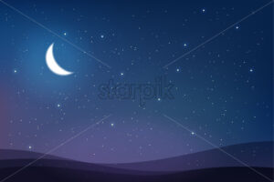 Sky full of stars and half moon magic card vector. Abstract warm colors - Starpik Stock