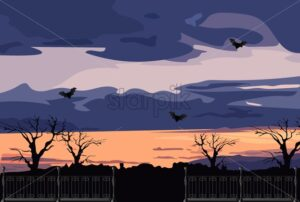 Sunset before halloween party with bats, forest and clouds. Flat style vector - Starpik Stock