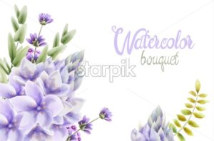 Watercolor Hyacinth flowers bouquet background vector. Wedding gretting card - Starpik Stock