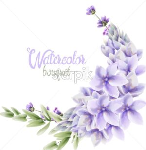 Watercolor Hyacinth flowers wreath bouquet vector. Wedding gretting card background - Starpik Stock