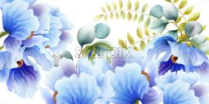 Watercolor blue flowers and leaves background vector. Floral bouquet decor - Starpik Stock