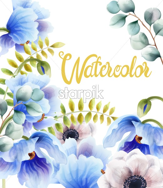 Watercolor blue flowers and leaves greeting card vector. Floral bouquet decor - Starpik Stock