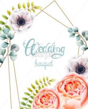 Watercolor blue flowers and leaves greeting card wreath vector. Floral bouquet decor - Starpik Stock