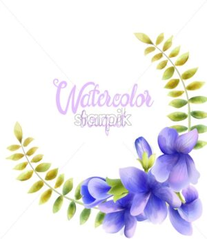 Watercolor bouquet of orchid flowers. Leaves in wreath. Vector composition - Starpik Stock