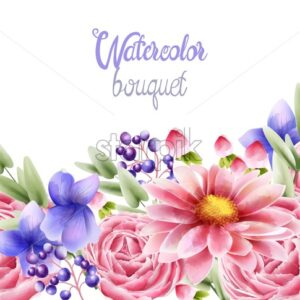 Watercolor bouquet of rose daisy and orchid flowers with leaves. Greeting card vector composition - Starpik Stock