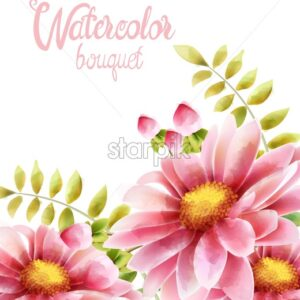 Watercolor bouquet of rose daisy flowers with leaves. Greeting card - Starpik Stock