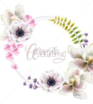 Watercolor flowers and leaves background vector. Floral bouquet decor - Starpik Stock