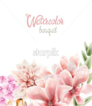 Watercolor flowers and leaves bouquet background vector. Wedding greeting card - Starpik Stock