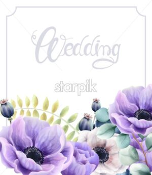 Watercolor flowers and leaves wedding greeting card vector. Floral bouquet decor - Starpik Stock
