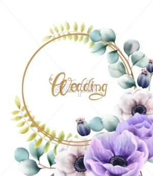 Watercolor flowers and leaves wedding wreath greeting card vector. Floral bouquet decor - Starpik Stock
